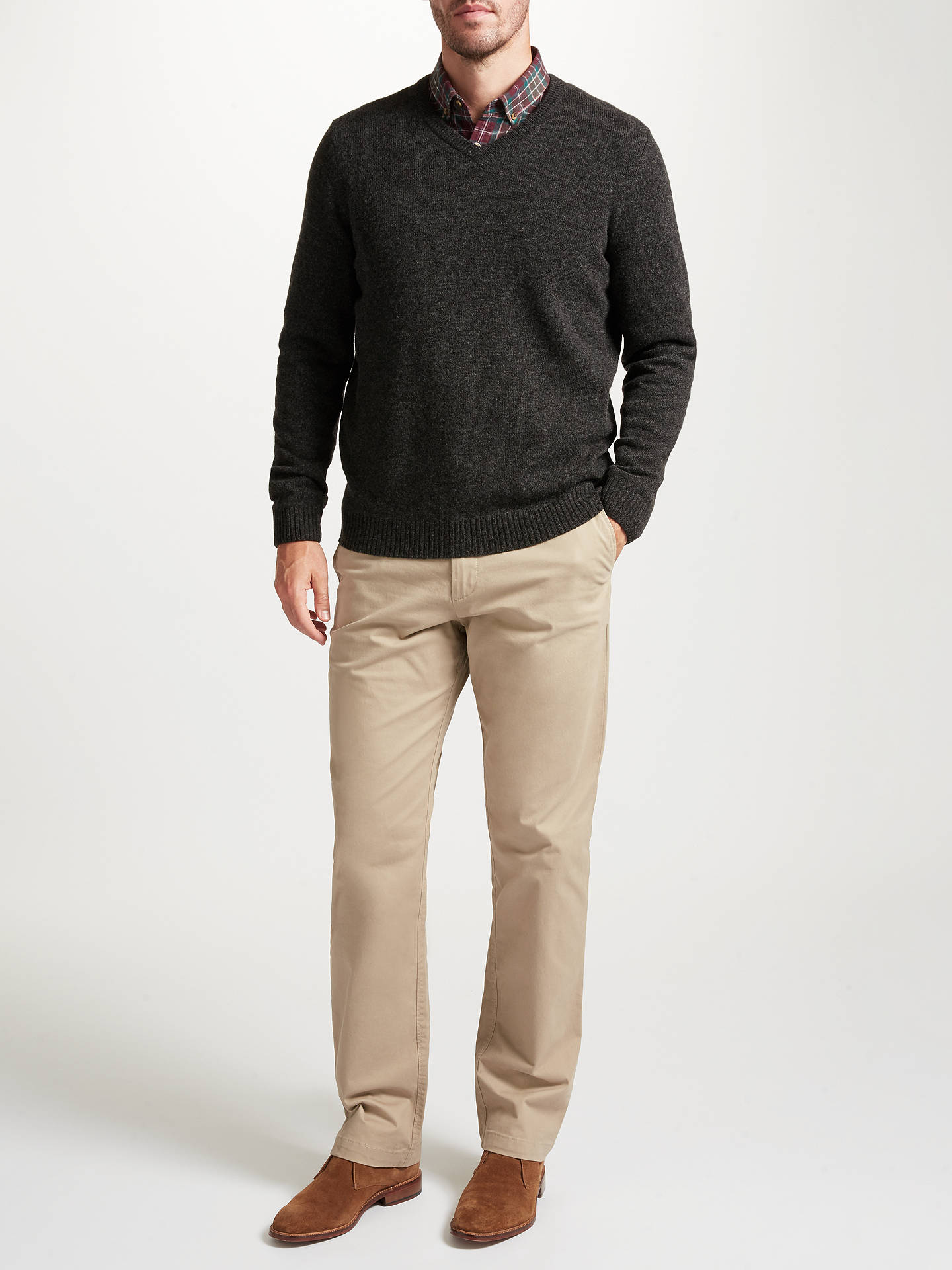 BuyJohn Lewis & Partners Merino Cashmere V-Neck Jumper, Grey, S Online at johnlewis.com
