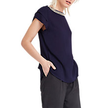 Buy Oasis Embellished Neck T-Shirt, Navy Online at johnlewis.com
