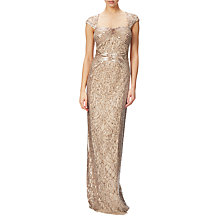 Buy Adrianna Papell Cap Sleeve Envelope Back Beaded Gown, Champagne Gold Online at johnlewis.com