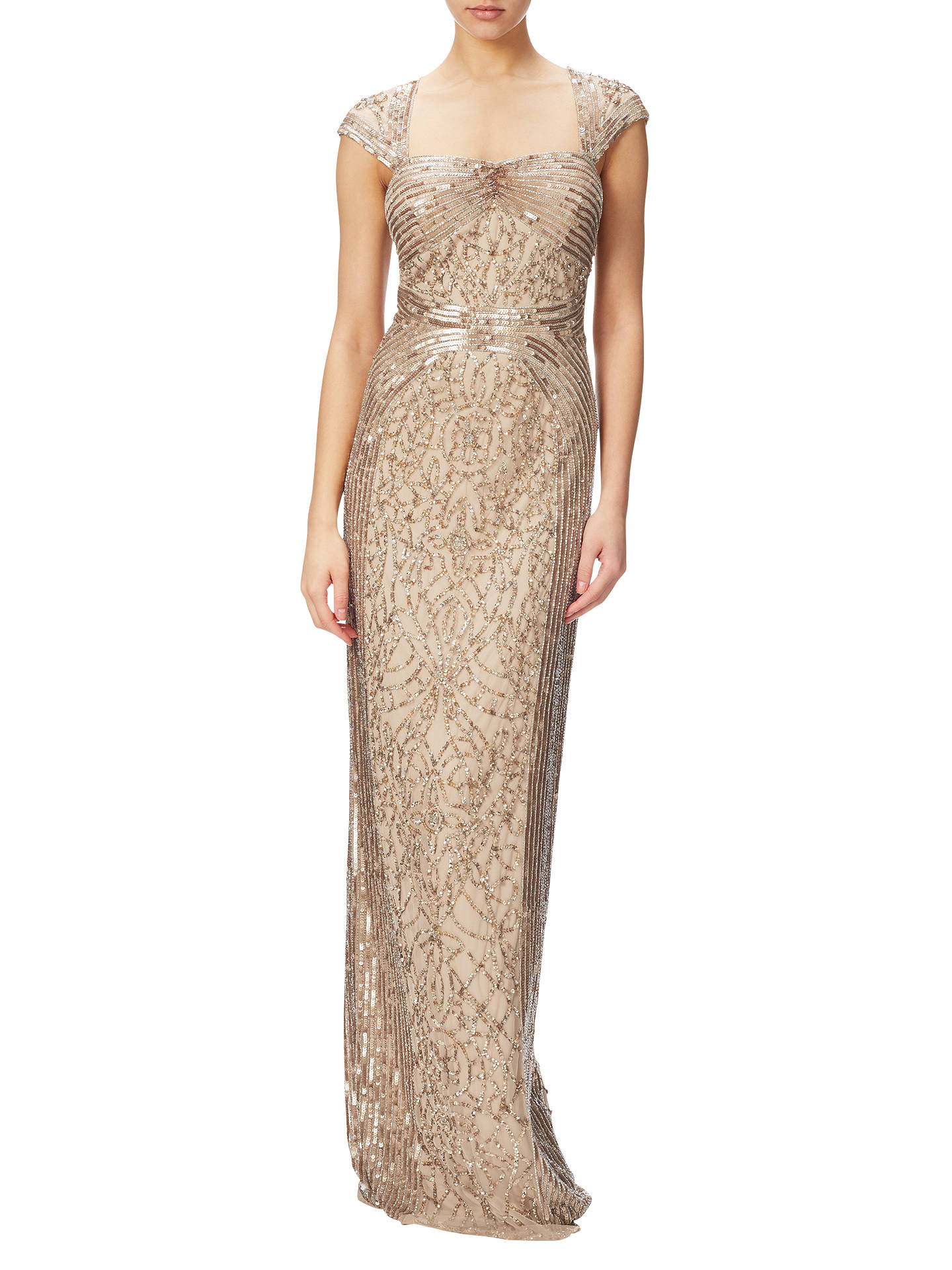 BuyAdrianna Papell Cap Sleeve Envelope Back Beaded Gown, Champagne Gold, 8 Online at johnlewis ...