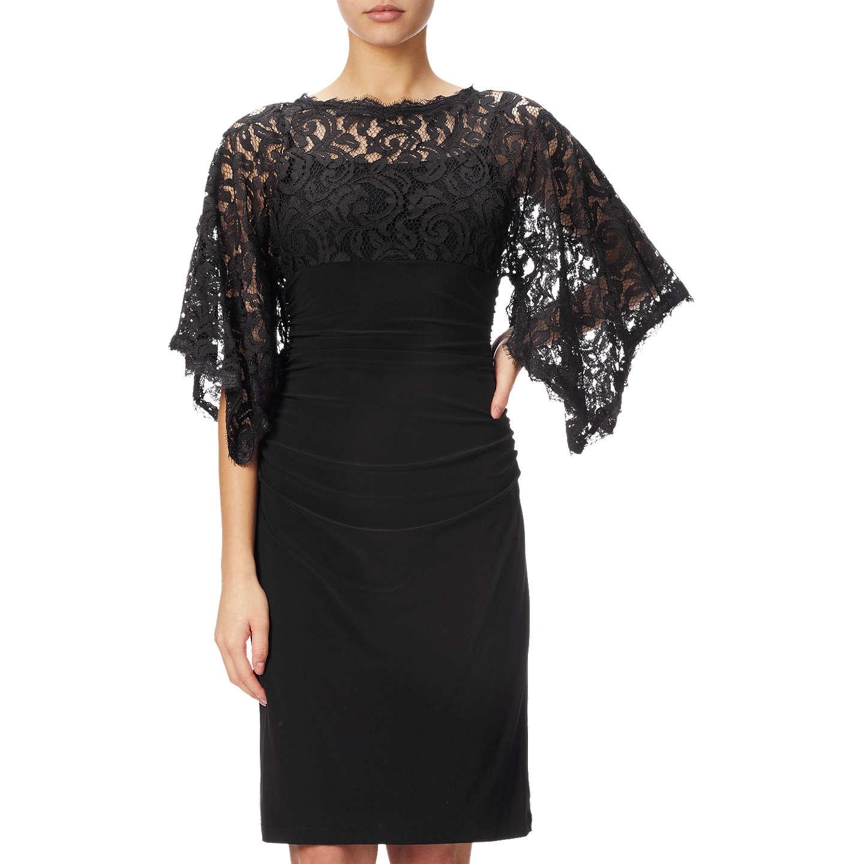 Adrianna Papell Kimono Sleeve Lace And Jersey Combo Dress, Black at ...