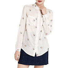 Buy Oasis Ditsy Embroidered Shirt, Natural/Multi Online at johnlewis.com