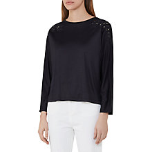 Buy Reiss Ashleigh Embroidery Detail Top, Navy Online at johnlewis.com