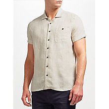 Buy JOHN LEWIS & Co. Plain Linen Short Sleeve Shirt, Natural Online at johnlewis.com