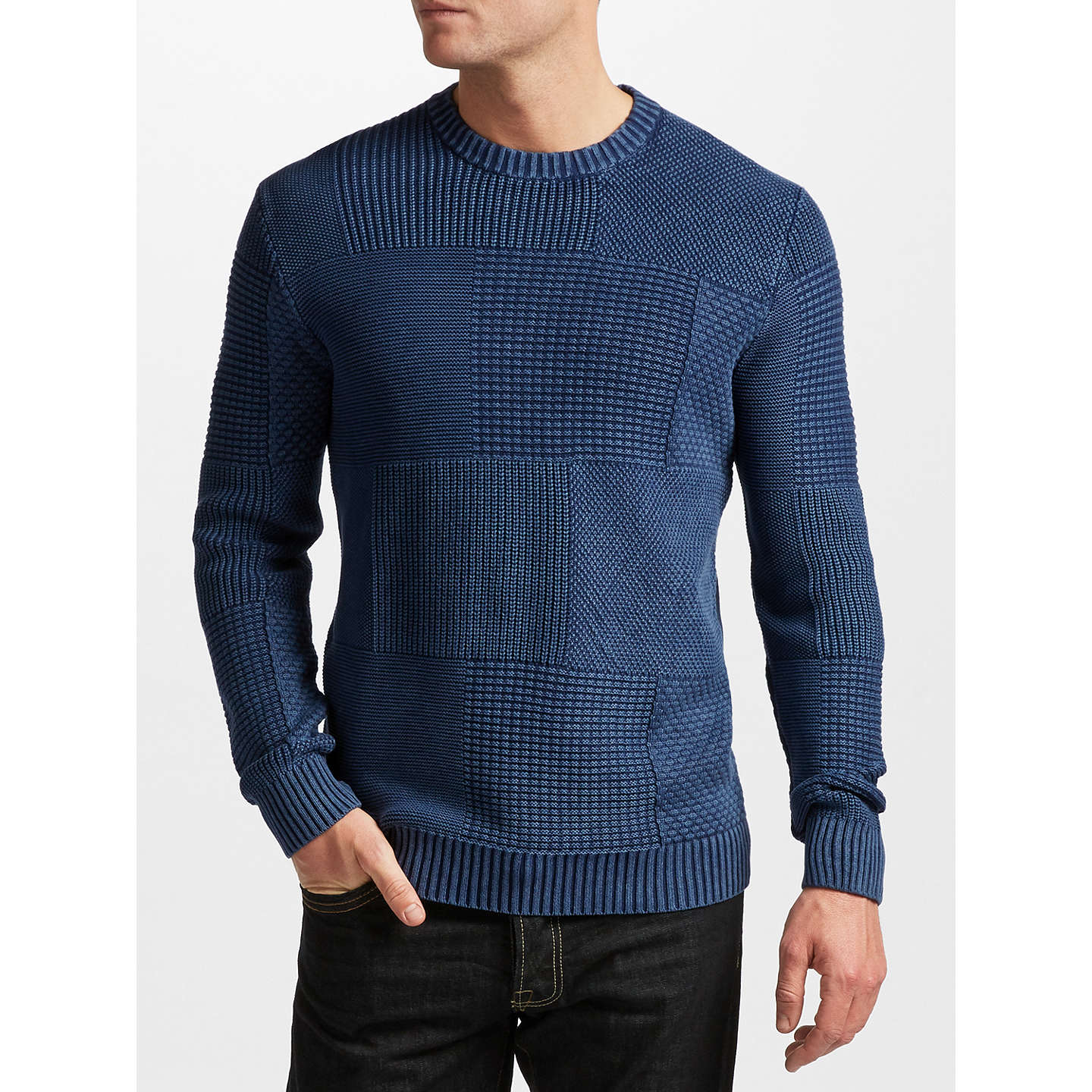BuyJOHN LEWIS & Co. Patchwork Crew Neck Sweatshirt, Indigo, S Online at johnlewis.com