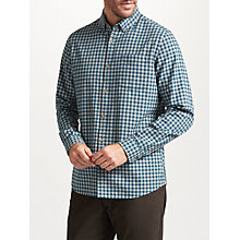 Buy John Lewis Brushed Gingham Shirt, Teal Online at johnlewis.com