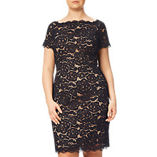 Buy Adrianna Papell Plus Size Off Shoulder Lace Sheath Dress, Black Online at johnlewis.com