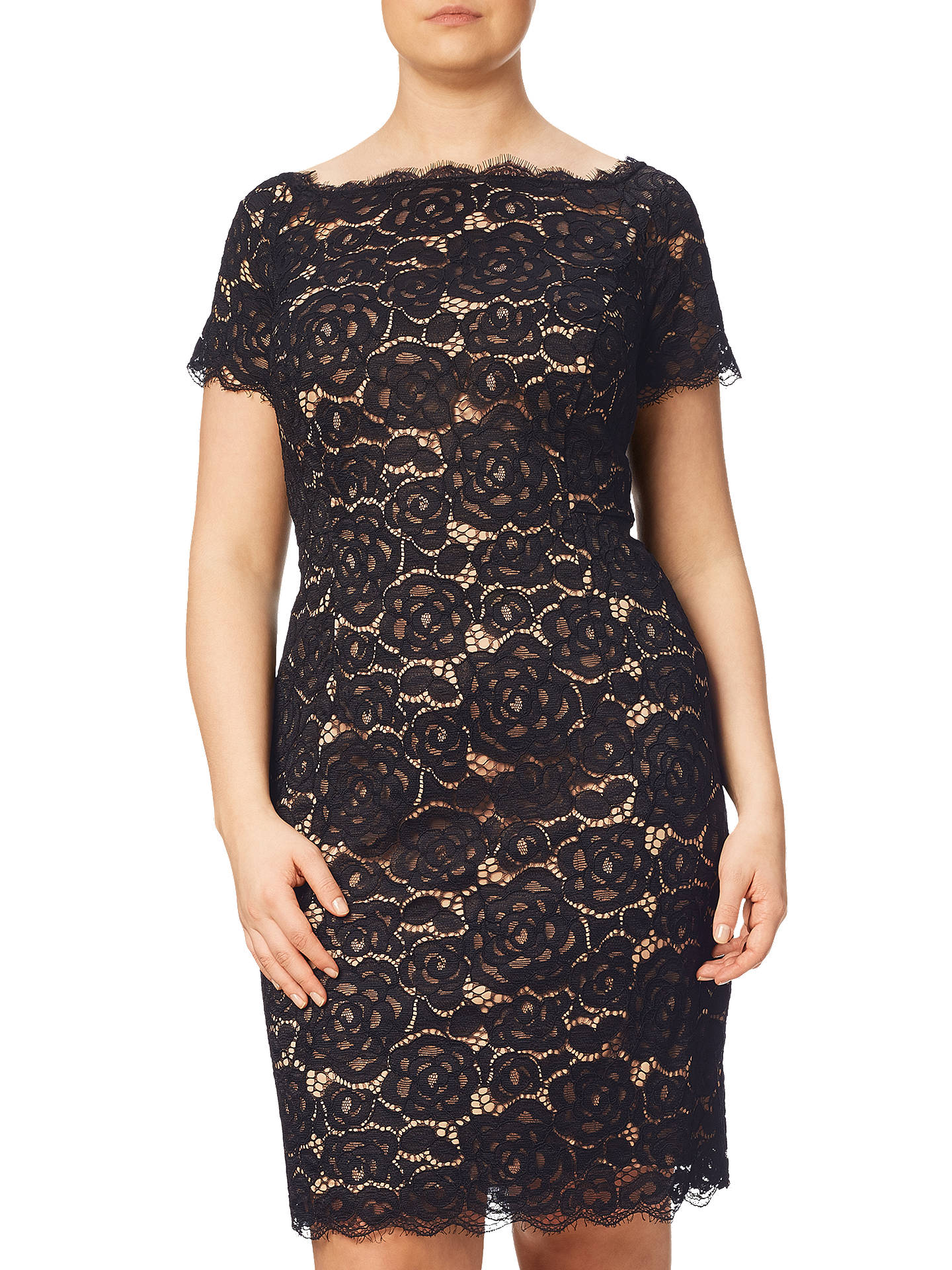 4e56bcfb Buy Adrianna Papell Plus Size Off Shoulder Lace Sheath Dress, Black, 20  Online at ...