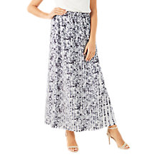 Buy Jacques Vert Printed Floral Plisse Contrast Maxi Skirt, Grey Online at johnlewis.com