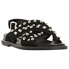 Buy Dune Black Loyal Studded Cross Strap Sandals, Black Online at johnlewis.com