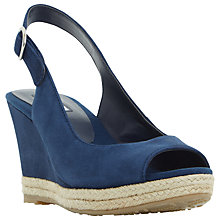 Buy Dune Klick Wedge Heel Sandals, Blue Suede Online at johnlewis.com