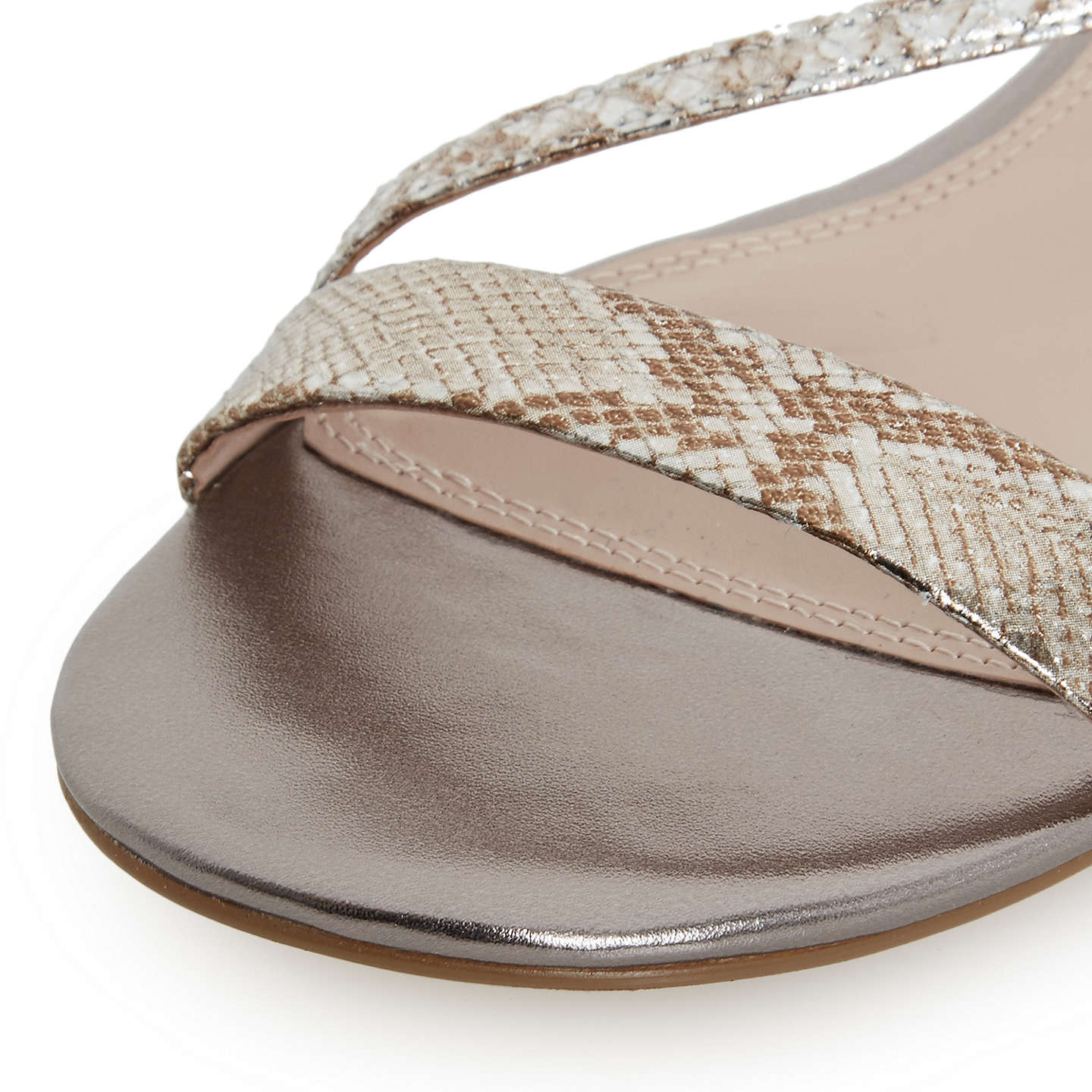 BuyDune Miss Asymmetric Flat Sandals, Pewter Metallic, 3 Online at johnlewis.com