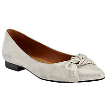 Buy John Lewis Heather Tie Trim Ballet Pumps, Gold Online at johnlewis.com