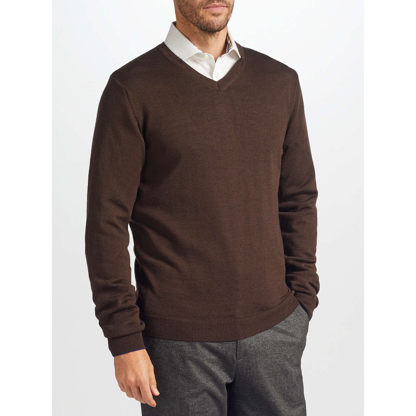 BuyJohn Lewis Made in Italy Merino Wool V-Neck Jumper, Brown, S Online at johnlewis.com