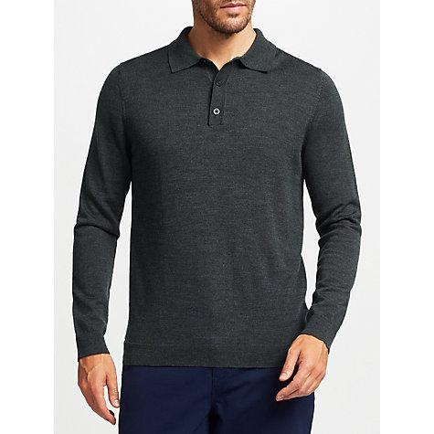 Buy john lewis merino wool long sleeve polo shirt john lewis for Long sleeve wool polo shirts
