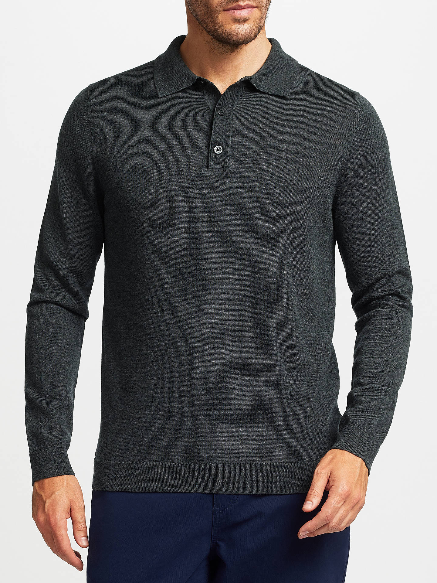 John Lewis Merino Wool Long Sleeve Polo Shirt at John Lewis