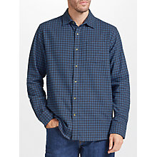 Buy John Lewis Grid Check Soft Flannel Shirt, Blue Online at johnlewis.com