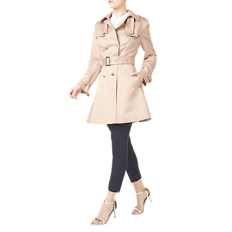 Buy Precis Petite Fleur Satin Trench Coat, Light Pink Online at johnlewis.com