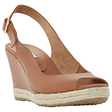 Buy Dune Klick Wedge Heel Sandals, Tan Leather Online at johnlewis.com
