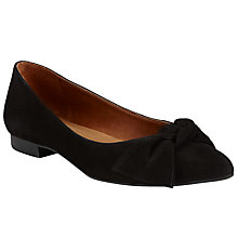 Buy John Lewis Heather Tie Trim Ballet Pumps, Black Online at johnlewis.com