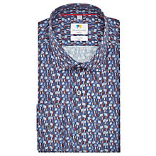 Buy Richard James Mayfair Cube Print Slim Fit Shirt, Blue Online at johnlewis.com