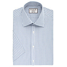 Buy Thomas Pink Lipson Check Classic Fit Short Sleeve Shirt, Blue/White Online at johnlewis.com