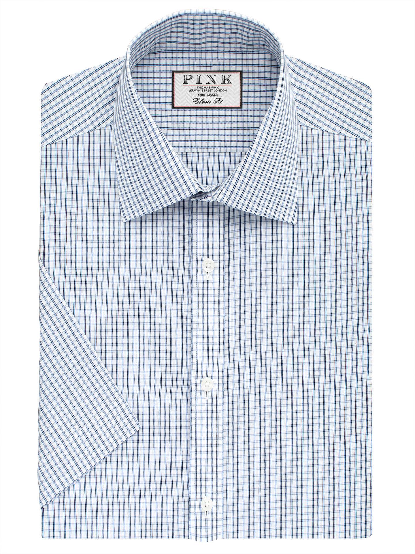 3855d80b Buy Thomas Pink Lipson Check Classic Fit Short Sleeve Shirt, Blue/White,  14.5 ...