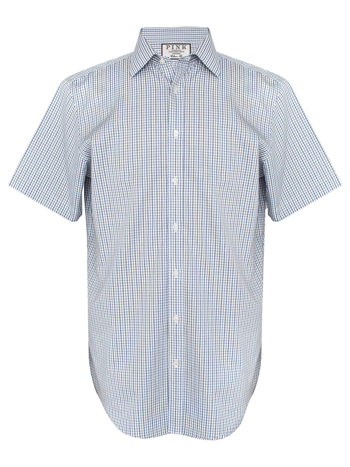 737cbb06 ... Buy Thomas Pink Lipson Check Classic Fit Short Sleeve Shirt, Blue/White,  14.5