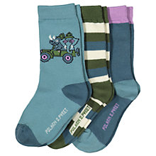 Buy Polarn O. Pyret Baby Safari Socks, Pack of 3, Blue/Multi Online at johnlewis.com