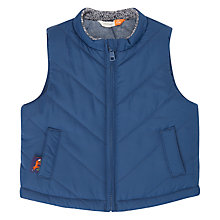 Buy John Lewis Baby Chambray Lined Gilet, Navy Online at johnlewis.com