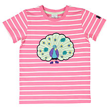 Buy Polarn O. Pyret Children's Striped Peacock Print T-Shirt, Pink Online at johnlewis.com