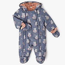 Buy John Lewis Baby Owl All-Over Print Snowsuit, Grey Online at johnlewis.com