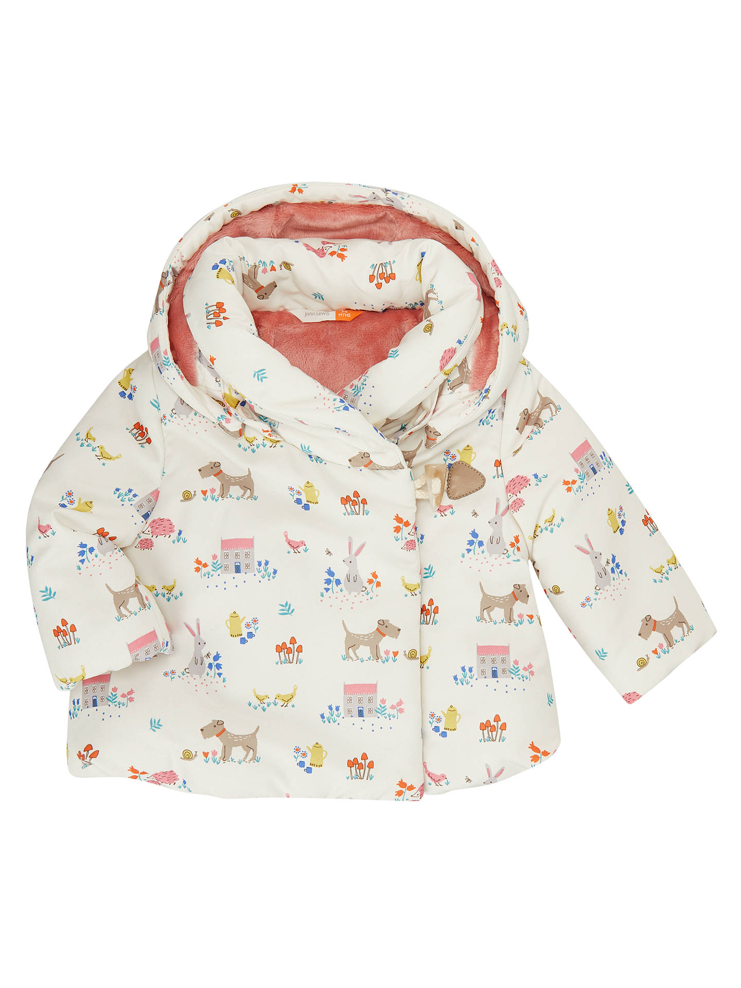 bafcdbc65c26 John Lewis Baby Leckford Animal Print Hooded Coat