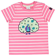Buy Polarn O. Pyret Baby Stripe Peacock T-Shirt, Pink Online at johnlewis.com