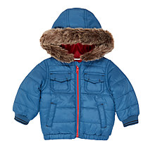 Buy John Lewis Baby Faux Fur Hood Coat, Blue Online at johnlewis.com