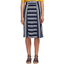 Buy Whistles Adina Stripe Skirt, Navy Online at johnlewis.com
