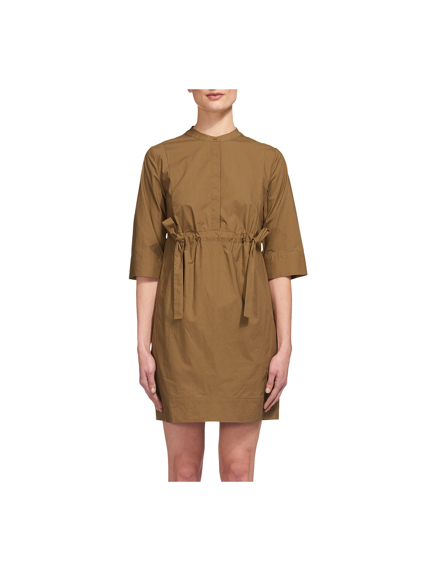 Buy Whistles Darcy Poplin Drawstring Dress, Olive, 6 Online at johnlewis.com