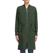 Buy Whistles Longline Casual Jacket, Khaki Online at johnlewis.com