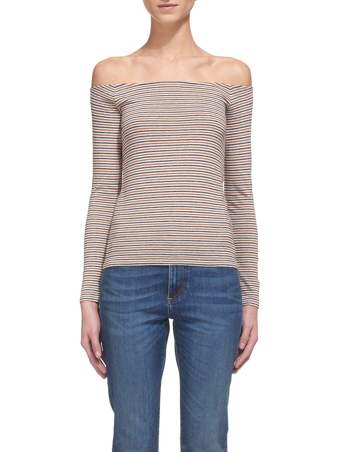 f2baa2ac09736 Buy Whistles Stripe Cotton Bardot Top