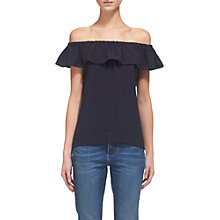 Buy Whistles Flume Frill Bardot Top, Navy Online at johnlewis.com