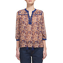 Buy Whistles Aubrey Lace Up Woodcut Blouse, Orange/Navy Online at johnlewis.com