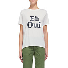 Buy Whistles Eh Oui Logo T-Shirt, White Online at johnlewis.com