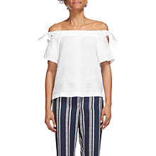 Buy Whistles Lila Tie Detail Linen Bardot Top Online at johnlewis.com
