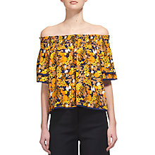 Buy Whistles Sienna Citrus Print Silk Bardot Top, Yellow Online at johnlewis.com
