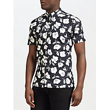 Buy J. Lindeberg Daniel Hibiscus Short Sleeve Shirt, Black/White Online at johnlewis.com