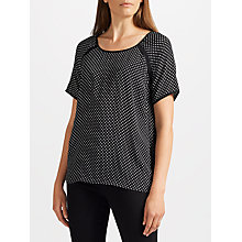 Buy Collection WEEKEND by John Lewis Micro Floral Print Short Sleeve Top, Black/White Online at johnlewis.com