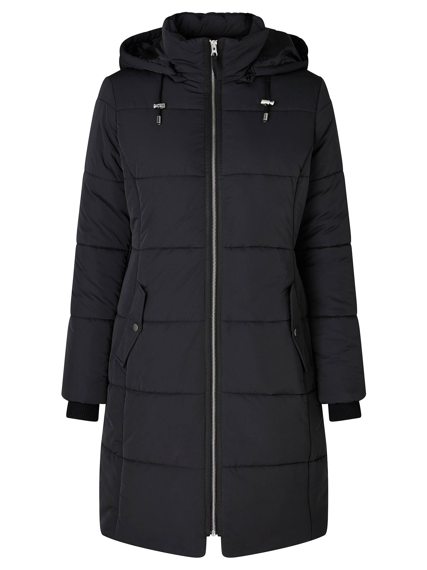 2997e207f John Lewis Long Padded Puffer Jacket, Black at John Lewis & Partners