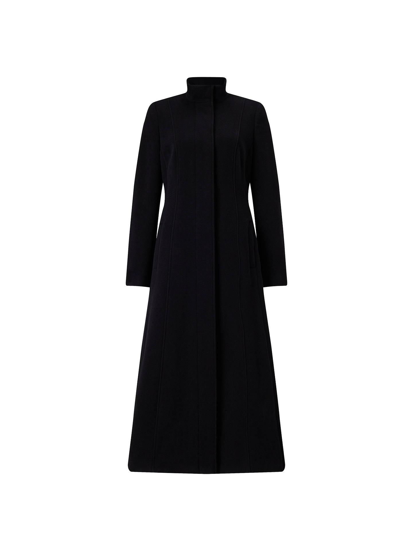 John Lewis Long Funnel Fit And Flare Coat, Black at John
