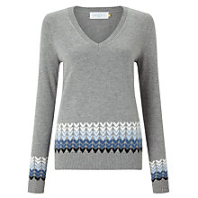 Buy Collection WEEKEND by John Lewis Ombre Hearts V-Neck Sweater, Grey/Blue Online at johnlewis.com