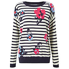 Buy Collection WEEKEND by John Lewis Crepe Pleat Skirt Floral Stripe Intarsia Jumper, Navy/White Online at johnlewis.com
